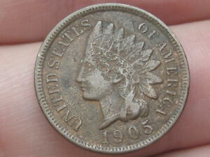 1905 INDIAN HEAD CENT PENNY VF DETAILS PARTIAL LIBERTY