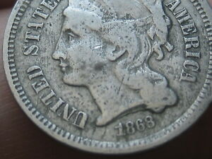 1868 THREE 3 CENT NICKEL  VG/FINE DETAILS