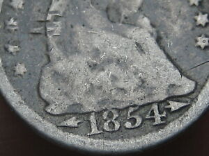 1854 P SEATED LIBERTY HALF DIME  WITH ARROWS OLD TYPE COIN