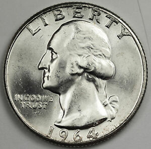 1964 P WASHINGTON QUARTER.  NICE B.U.  86828    INV.E