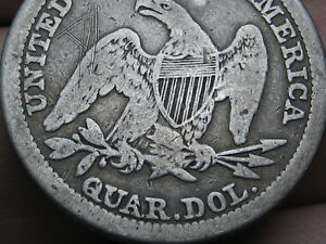 1841 P SILVER SEATED LIBERTY QUARTER  VG DETAILS