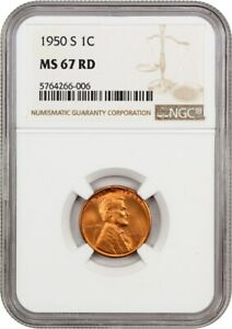 1950 S 1C NGC MS67 RD   LINCOLN CENT