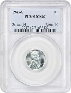 1943 S 1C PCGS MS67   POPULAR STEEL CENT FROM WW2   LINCOLN CENT