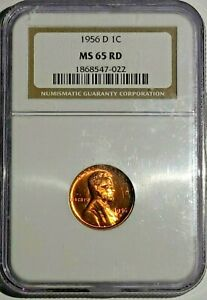 1956 D 1C NGC MS65 RD LINCOLN WHEAT CENT CH GEM BU  1868547  BEAUTIFUL DEVICES