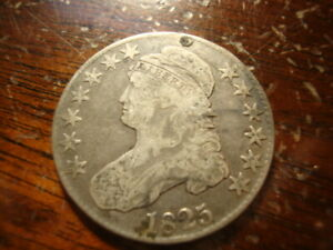 1825 VF REPAIRED CAPPED BUST HALF DOLLAR NICE LOOKING COIN KZS