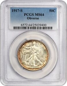 Click now to see the BUY IT NOW Price! 1917 S 50C PCGS MS64  OBVERSE  KEY DATE   WALKING LIBERTY HALF DOLLAR   KEY DATE
