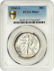Click now to see the BUY IT NOW Price! 1943 S 50C PCGS MS67   WALKING LIBERTY HALF DOLLAR   REGISTRY QUALITY