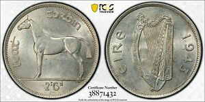 Click now to see the BUY IT NOW Price! 1943 IRELAND 1/2 CROWN PCGS AU58 LOTG951 SILVER  V.   500 PIECES KNOWN