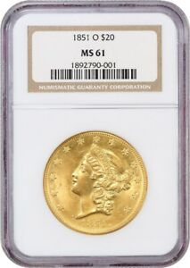 Click now to see the BUY IT NOW Price! 1851 O $20 NGC MS61    NEW ORLEANS DOUBLE EAGLE