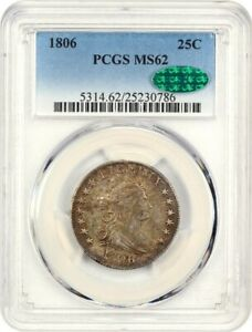 Click now to see the BUY IT NOW Price! 1806 25C PCGS/CAC MS62   GREAT EARLY TYPE COIN   DRAPED BUST QUARTER
