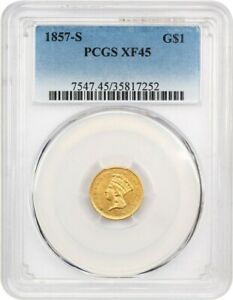 1857 S G$1 PCGS XF45    DATE   1 GOLD COIN    DATE