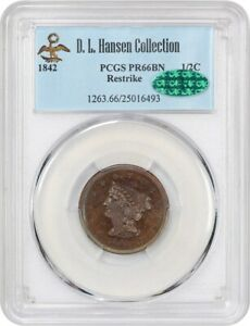 Click now to see the BUY IT NOW Price! 1842 1/2C PCGS/CAC PR 66 BN  RESTRIKE  EX: D.L. HANSEN    RESTRIKE PROOF