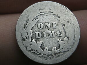 1892 O SILVER BARBER DIME  ABOUT GOOD DETAILS