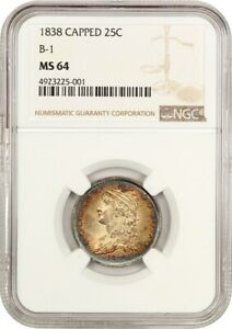 1838 CAPPED BUST 25C NGC MS64  B 1  GORGEOUS    BUST QUARTER   GORGEOUS