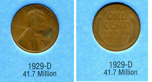 LINCOLN HEAD WHEAT CENT 1929 D AVERAGE CIRCULATED UNITED STATES 1 PENNY COIN B6