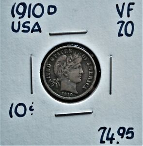 1910 D UNITED STATES 10 CENTS VF 20