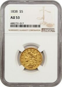 1838 $5 NGC AU53   CLASSIC HEAD GOLD TYPE COIN   EARLY HALF EAGLE   GOLD COIN