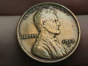 1913 D LINCOLN CENT WHEAT PENNY  XF DETAILS