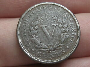 1887 LIBERTY HEAD V NICKEL 5 CENT PIECE  FINE/VF DETAILS