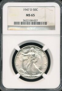 1947 D WALKING LIBERTY HALF DOLLAR NGC MS 65  GEM UNCIRCULATED