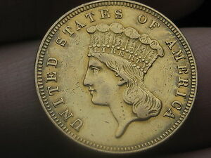 1859 $3 GOLD INDIAN PRINCESS THREE DOLLAR COIN  XF OBVERSE DETAILS