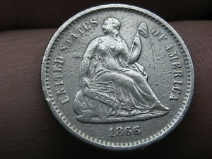 1866 S SEATED LIBERTY HALF DIME  VF/XF DETAILS