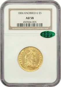 1806 $5 NGC/CAC AU58  KNOBBED 6    EARLY HALF EAGLE   GOLD COIN