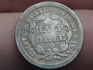 1859 O SEATED LIBERTY HALF DIME  VG REVERSE DETAILS