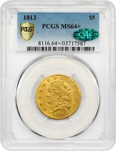 Click now to see the BUY IT NOW Price! 1813 $5 PCGS/CAC MS64  BEAUTIFUL NEAR GEM   EARLY HALF EAGLE   GOLD COIN