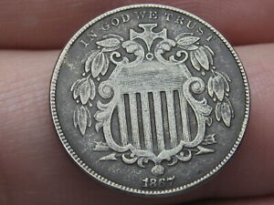 1867 SHIELD NICKEL 5 CENT PIECE  NO RAYS VF/XF DETAILS