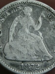 1872 P SEATED LIBERTY HALF DIME  VG DETAILS