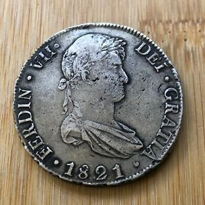 1821 PJ BOLIVIA 8 REALES MILLED BUST FERDINAND VII WORLD SILVER COIN POTOSI