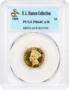 Click now to see the BUY IT NOW Price! 1888 $3 PCGS PR 64 CAM EX: D.L. HANSEN   3 PRINCESS GOLD COIN    PROOF $3