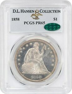 Click now to see the BUY IT NOW Price! 1858 $1 PCGS/CAC PR 65 EX: D.L. HANSEN COLLECTION    PROOF ONLY ISSUE