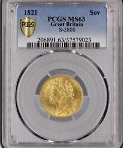 1821 GOLD SOVEREIGN PCGS AUTHENTICATED & GRADED MS63.