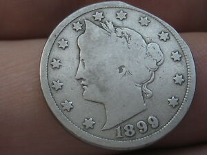 1899 LIBERTY HEAD V NICKEL 5 CENT PIECE  VG DETAILS CLIPPED PLANCHET