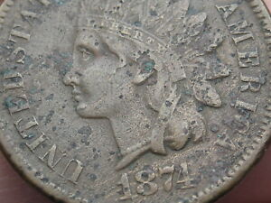 1874 INDIAN HEAD CENT PENNY  VF/XF DETAILS