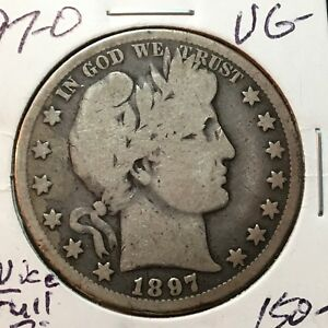 1897 O VG   BARBER HALF DOLLAR  LY AND PART OF T  NICE FULL RIMS TOUGH DATE