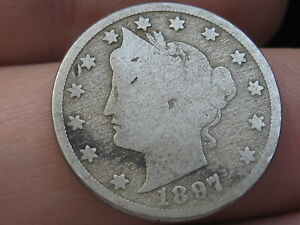 1897 LIBERTY HEAD V NICKEL 5 CENT PIECE  GOOD DETAILS FULL DATE