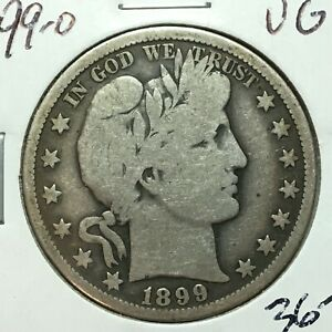 1899 O  VG   BARBER HALF DOLLAR  LY AND PART IT   SOLID RIMS  BETTER DATE