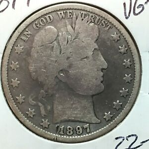 1897 P  VG   BARBER HALF DOLLAR  LITY AND A BIT OF BR