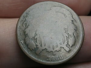 1868 TWO 2 CENT PIECE  CHOCOLATE BROWN
