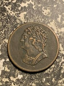 1820 LOWER CANADA BUST & HARP 1/2 PENNY TOKEN LOTQ9599 SCRATCHES