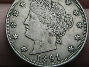 1891 LIBERTY HEAD V NICKEL 5 CENT PIECE  XF DETAILS