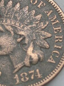 1874 INDIAN HEAD CENT PENNY  VF/XF DETAILS LIBERTY SHOWS