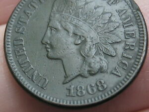1868 INDIAN HEAD CENT PENNY  VF DETAILS