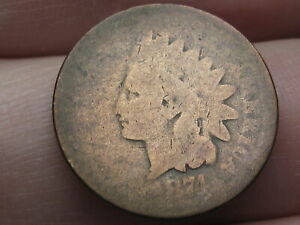 1874 INDIAN HEAD CENT PENNY  ABOUT GOOD DETAILS