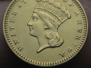 1874 $1 GOLD INDIAN PRINCESS ONE DOLLAR COIN