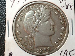 1897 S  VF XF  BARBER HALF DOLLAR  FULL LIBERTY  STRONG REVERSE    KEY DATE COIN