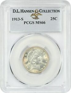 Click now to see the BUY IT NOW Price! 1913 S 25C PCGS MS66 EX: D.L. HANSEN COLLECTION   FAMOUS KEY DATE